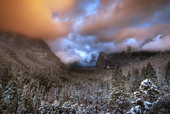 The Clearing Storm (WJMcIntosh) Tags: winter sunset snow clouds yosemite bridalveilfalls tunnelview clearingstorm nikond4 nikkor142428