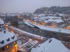 Blue hour, river and February snow, Ljubljana, Slovenia (Paul McClure DC) Tags: architecture river scenery historic slovenia ljubljana slovenija ljubljanica feb2013