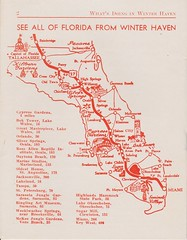 Winter Haven Florida map (pr0digie) Tags: illustration florida map sightseeing tourist 1950s distance brochure 1952 winterhaven route27