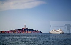 Rovinj (Sebastian Condrea) Tags: city travel family blue sea summer wallpaper vacation sky urban holiday color colour reflection building tower tourism beach church nature water beauty architecture clouds sailboat season landscape mirror town photo reflex europe natural yacht background scenic croatia surface historic human romantic historical picturesque reflexion rovinj adriatic overview istria istra reflectance