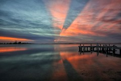 To the heavens (pominoz) Tags: sunset reflection clouds pier belmont jetty wharf nsw lakemacquarie