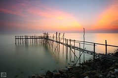 Pantai Sungai Lurus (Shahrulnizam KS) Tags: travel sunset sea holiday color beach nature sunrise landscape photography nikon jetty traditional tranquility bamboo filter malaysia slowshutter moment hitech tranquil batu johor colourfull pahat d90 nikond90 bamboojetty