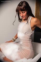 A glamorous bubble bath (Wet and Messy Photography) Tags: wet water bath dress longhair bubble elegant dayn wetlook