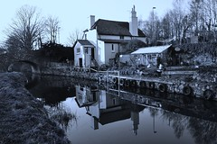 Monmouthshire & Brecon Canal (Paula J James) Tags: blackandwhite house wales reflections mono canal canals breconbeacons welsh brecon canalbridge monmouthshireandbreconcanal monandbrec
