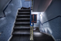 FDT #35 || Upstairs,Downstairs-ed ! (Anir Pandit's Photo Art) Tags: blue light man stairs canon fun humour multiplicity clones 1020mm hdr 500d facedowntuesday hfdt anirpandit