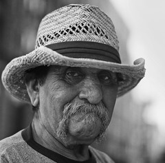 Jose, Stranger #92 (Andy Kennelly) Tags: california street portrait bw film hat project los downtown angeles jose strangers stranger hasselblad 400 medium format around 100 loaf mustache 92