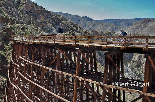 Biker riding over Goat Trestle