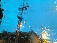 Rainy San Francisco Telephone Pole and Wires (Lynn Friedman) Tags: rain windshield window intersection blur stop sign twilight sanfrancisco ca usa lynnfriedman telephonepole wires overhead reflection streetsandpeople streets sf impressionistic painterly theme