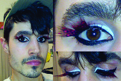 Delineador Preto, Tinta de Rosto Branca, Clios Postios de Pena com Bolinhas Vermelhas, Rmel e Lpis de Olho na linha D'gua - Daniel Dall'Igna Ecker (Maquiagem para Homens + Macho MakeUp) Tags: gay man men make up glitter cores rainbow para daniel makeup maquiagem arcoris homem fag ecker homens maquillaje masculina purpurina viado rutrum    dalligna danieldallignaecker