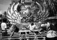 Cremation preparation (6) (Tastwo) Tags: bw bali public analog indonesia grey pagoda bade ceremony documentary 75 1990 cremation copyrighted ngaben wadah cremationtower tastwo tastwophotography tastwophotographycom