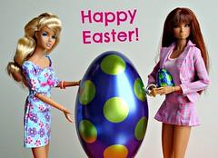 My girls and I wish you a Happy Easter! (Deejay Bafaroy) Tags: pink blue girls green girl easter toys doll dolls erin chocolate egg barbie rosa grn dynamite blau ostern factor fr schokolade chill mattel aria ei dg integrity themakingof happy