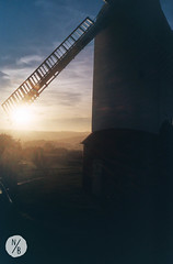 Jill Windmill at sunset (Nikorasusan) Tags: sunset sussex southdowns windmill bluesky uk england walking hiking hills nature countryside rollinghills mist silhouette