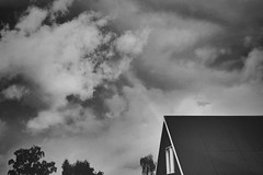 (jean_pichot1) Tags: texture outline trim white window cloudy sky sweden trees up bw rainbow storm clouds dark rooftop roof house