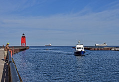 Lake View (smiles7) Tags: freighter ships lighthouse charlevoixmichigan lakemichigan nikond7200 3662016