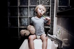 (jean_pichot1) Tags: bedtime girl child teddybear bright dark brushing teeth toothbrush looking stripes diaper sitting sink bathroom toddler brushingteeth