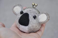 Koala Bear Kiss lock purse (noristudio3o) Tags: koala bear kiss lock purse wet felted felting grey coin keychain animal