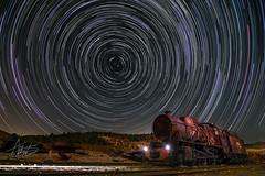 Circumpolar (ALBIVAZ) Tags: tren mina riotinto polar circumpolar circunferencias cielo estrellado maquinaria abandonado huelva startrail