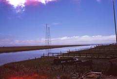 San Pablo Bay (Spleen Havoc) Tags: san pablo bay ocean marin medium format film fujifilm velvia ga645 fishing shack marsh sky clouds beautiful view double exposure