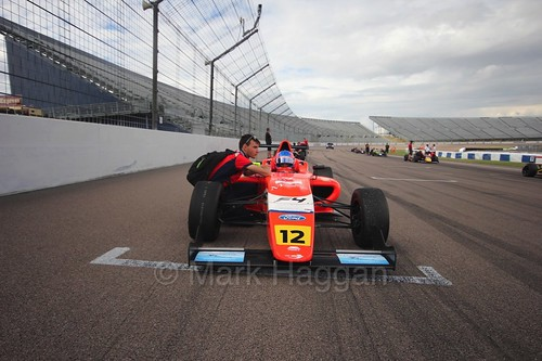 Ayrton Simmons on the British F4 grid at Rockingham, August 2016