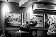 Different Worlds . (wayman2011) Tags: fujifilmx100 lightroom tclx100 wayman2011 bw mono people candid street cafes cafeculture pennines dales teesdale barnardcastle countydurham uk