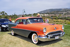 1955 Oldsmobile Super 88 Holiday - coral & gray metallic - front (Pat Durkin OC) Tags: danapoint 88 hardtop 1955oldsmobile holiday