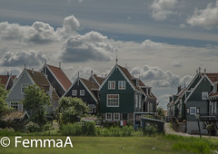 Marken (femmaryann) Tags: marken woodenhouses housesonstilts holland architecture rustic clouds trees houses
