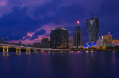 Macau & Blue Hour (Lus Henrique Boucault) Tags: asia bluehour brigde casino china clouds cloudy lights longexposure macau nightlight nightlights portuguese taipa travel vacation mo