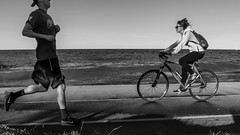 Street walk session 7-1-16 pic13 (Artemortifica) Tags: belmont boats chicago northavebeach street afternoon beach bench bikes blackandwhite bluskies sand summer swimmers il