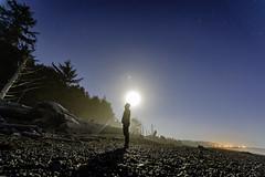 Moonrise at Rialto Beach (jacobjuliot) Tags: moon stars astrophotography beach man pondering driftwood washington rialto olympic national park pacific coast ocean la push moonrise rocks long exposure