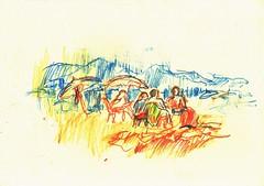 PROYECTO 132-57 (GARGABLE) Tags: angelbeltrn apuntes sketch lpicesdecolores drawings proyecto 132 64 todo varios variado dibujos gargable playa gente siesta sanjuan