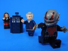 Shrinking the TARDIS (MrKjito) Tags: lego minifig ant man doctor who cross over tardis 12 clara scott land super hero marvel comics bbc cinematic universe shrink disk blue