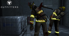 [TRB] Outfitters: Zombie Firefighter (Andy2 Spore) Tags: trboutfitters secondlife thehive residentevil zombie outbreak virus apocalypse livingdead walker zday axe firefighter bunker gear gas mask helmet costume