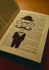 moustache (JMaskellPhoto) Tags: girl illustration digital vintage book photo nikon pattern drawing moustache bookpages