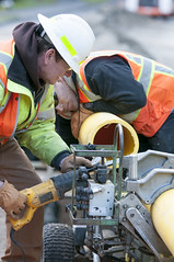 Natural Gas Line upgrade (Puget Sound Energy) Tags: usa truck unitedstates pipes pipe trench wash installation trucks install pipeline employee pse naturalgas millcreek employees trenching ppe snohomishcounty pipelines gasmain pugetsoundenergy infrasource