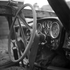 Broken Down (oceanheadted) Tags: 120 6x6 rotting car rolleiflex mediumformat riley fuji neopan dashboard modelt acros brokendown beyondrepair autaut