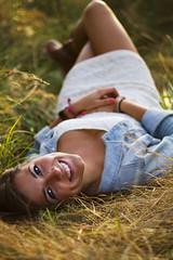 Ashleigh Noelle Photography [Alison] (ashkono) Tags: portrait senior girl field grass model natural naturallight lensflare flare brunette discoverypark seniorphoto brownhair whitedress seniorportrait lacedress countryoutfit