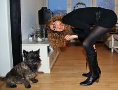 Tina and Otto (osto) Tags: woman dog chien pet animal cane denmark europa europe sony january hond perro terrier zealand otto pies tina dslr scandinavia danmark cairnterrier a300 kpek sjlland  2013 osto alpha300 osto