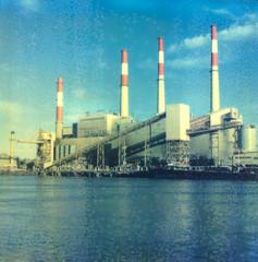 (daveknapik) Tags: nyc newyorkcity industry film water river polaroid energy industrial power rivers eastriver instant powerstation rooseveltisland impossible polaroidsx70 polaroidsx70sonar impossibleproject
