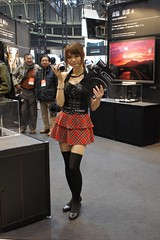 Lumix Booth (shinnygogo) Tags: show woman girl japan booth lumix photography japanese women skirt panasonic event international babes imaging yokohama feb showgirls kanagawa  pacifico oldmen cipa boothgirls     campaigngirl gh3   2013 cpplus   dmcgh3 cp2013   kneehighblackstockings