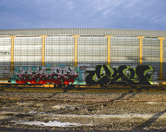 MYST - CLAY (Electric Funeral) Tags: railroad art digital train canon photography graffiti midwest nebraska paint railway iowa railcar clay traincar omaha graff aerosol freight pos myst freighttrain autorack councilbluffs benched benching xti freighttraingraffiti allnation
