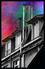 Impasse du chevalier Rouge (2) (Jean-Luc Lopoldi) Tags: windows roof chimney cutout ciel toit ville fentres dormers tuyaux chemines mansarde chienassis