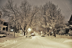 Winter Street ( Kimberly Collignon - All Rights Reserved) Tags: street city trees winter house snow newyork storm ice home car pinetree night season lights buffalo streetlight seasons nemo snowy freezing nightime freeze suburb plow shovel icy blizzard snowcovered
