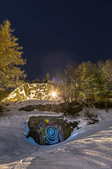 Sprial (EyvindEb1) Tags: wood blue winter light sky snow tree green norway rock night stars spiral stand pentax manual trondheim k5 pentaxart smcpda1645mmf4edal