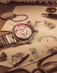 70s WATCH (will94-_-) Tags: wood old stilllife photoshop studio photography watch drawings gear gears oldwatch geras