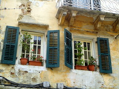 (Mavrokirkinezo) Tags: flowers windows green hellas greece corfu oldtown  kerkira ionianisland