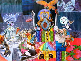 LARRY CARLSON, Avian Knights 1, acrylic paint, digital prints and collage on paper, 24 x 16in., 2013.