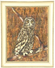69. Mid Century Oil Painting of Owl