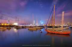 Causeway Bay Typhoon Shelter (mendowong) Tags: longexposure light sunset sky hk cloud motion water lines reflections landscape photography hongkong golden photo timelapse movement bright time sony wide sigma stack colourful streaks ultra a57 816mm mendowong