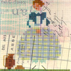 big blue skirt (kurberry) Tags: collage crossstitch ephemera tissuepaper tracingpaper magazinepages bookpages vintageephemera bookbindingteam