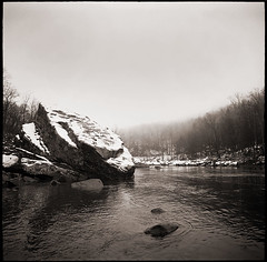 River Rocks (Kiev) (DRCPhoto) Tags: 6x6 mediumformat westvirginia squareformat kodakbw400cn kiev 60 cheatriver russiancameras sovietcameras fsucameras
